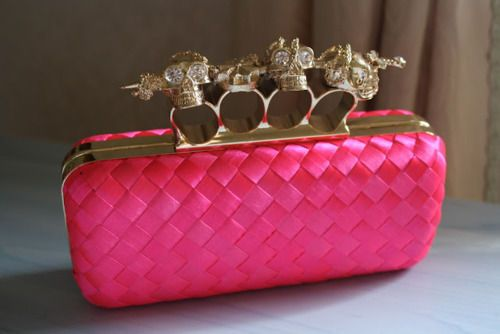 /Beats, Alexander Mcqueen, Fashion Bags, Hot Pink, Clutches Bags, Brass, Accessories, Pink Skull, My Style