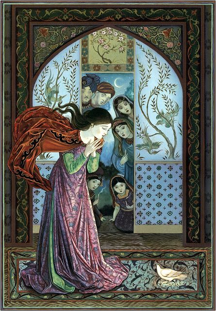 Laurel Long, illustration for The Lady and the Lion, A Brothers Grimm Tale, retold by Laurel Long and J.K. Ogburn, Dial Books Ed, New York, 2003