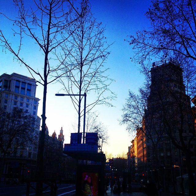 La Rambla in the morning, Barcelona Streets, an amazing autumn morning...