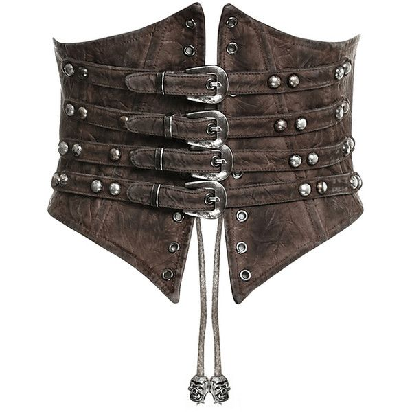 PUNK RAVE VALKYRIE CINCHER CORSET BROWN Violent Delights ❤ liked on Polyvore featuring intimates, steam punk corset, waist cincher corset, punk corset, brown steampunk corset and faux leather corset