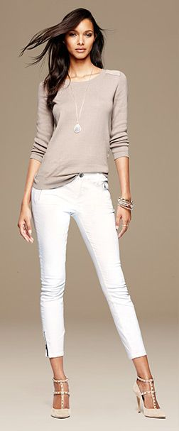 Shoes!  Once again the shoes make the outfit. White skinnies, beige top (side tuck).