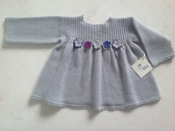 Handknitted baby dress/ baby merino dress / baby girl/ baby gift/ baby girl dress