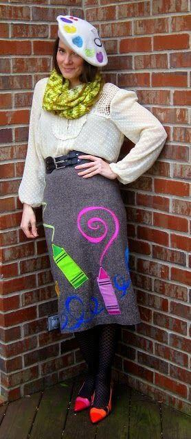 crazy art teacher outfit