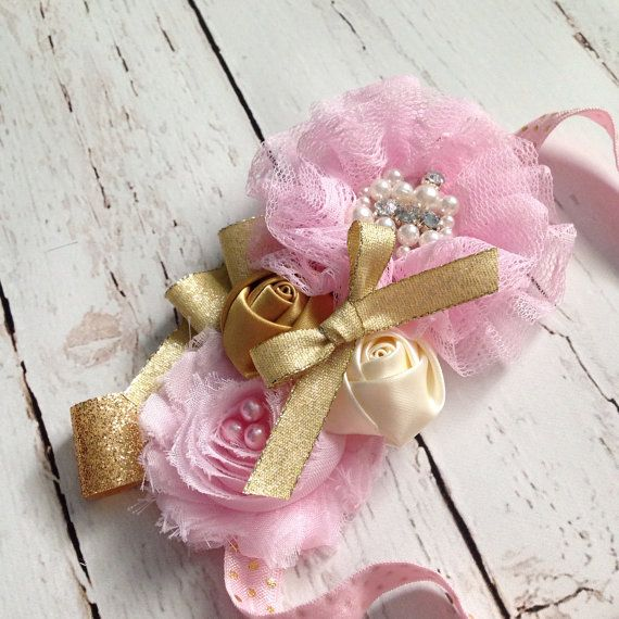 Light pink and gold baby headband-pink and gold party-birthday party-photography prop on Etsy, $15.00