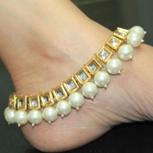 Online Shopping for Kundan anklets pair no320 | Anklets | Unique Indian Products by PANJARAT - MPANJ60378419730