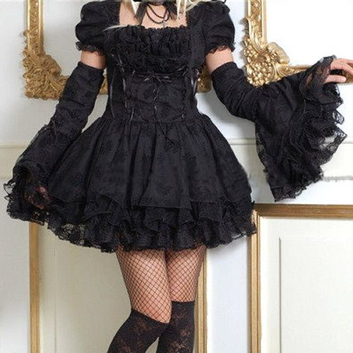 Little Black Tie Gothic Lolita Punk Clothes Prom Party Dresses SKU-11402049