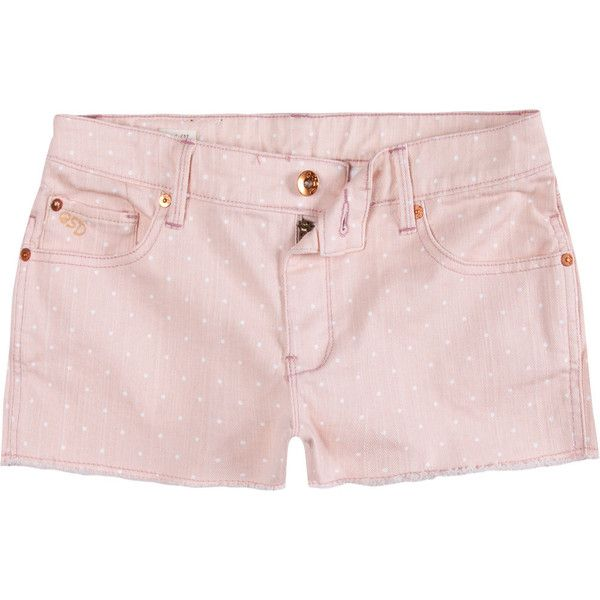 QUIKSILVER Lamrock Womens Denim Cutoff Shorts ($28) ❤ liked on Polyvore featuring shorts, bottoms, light pink, denim cut-offs, denim cutoff shorts, light pink denim shorts, cut-off and zipper shorts