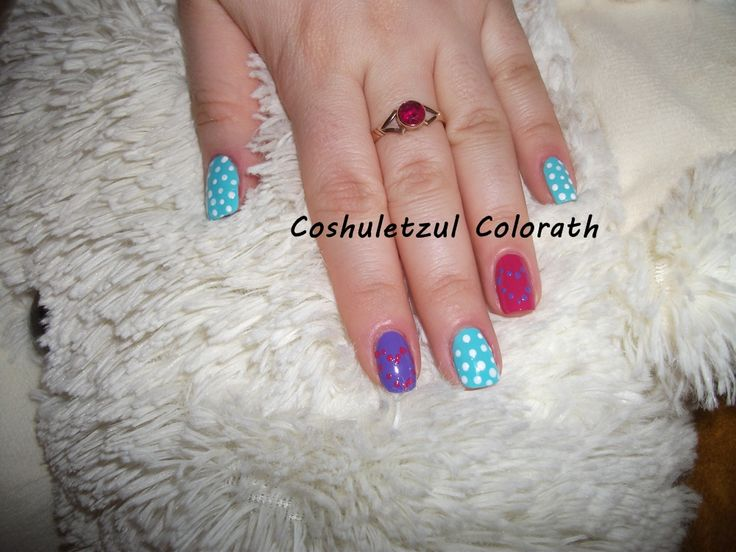 valentine's day nails, colorful nails