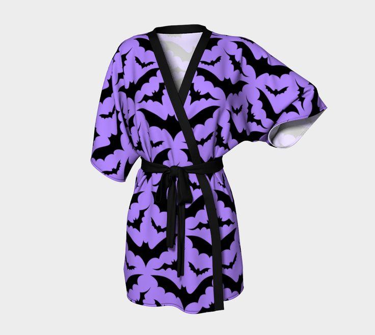 Batty Kimono Robe in Purple and Black