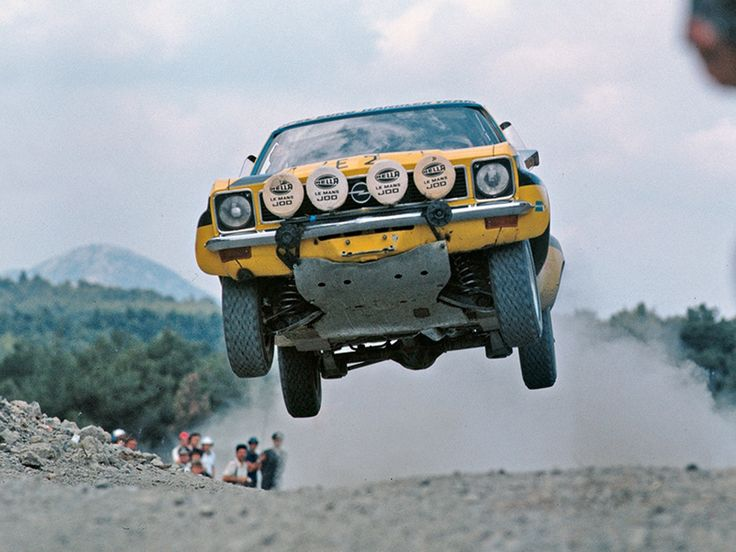 Walter Röhrl and Jochen Berger getting airborne in an Opel Ascona at Acropolis Rally 1975