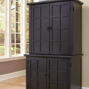 Home Styles Arts And Crafts Compact Computer Armoire With Hutch   Black    Computer Armoires At Computer Desks