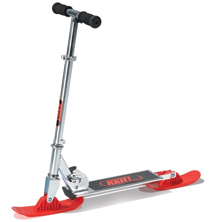 The Street And Snow Scooter - Hammacher Schlemmer - This is the scooter that converts from a wheeled street model to one with skis ready for the slopes.
