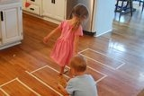 I made outlines of shapes with tape on the floor to help my son learn about them.  I just told him to hop from shape to shape and he loved it.