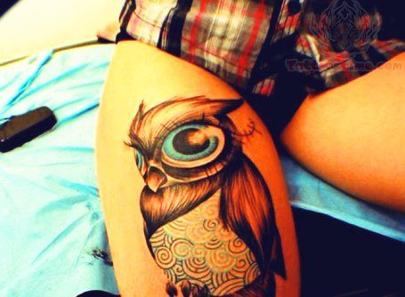 Owl Tattoos For Girls   Owl Thigh Tattoo For Girls