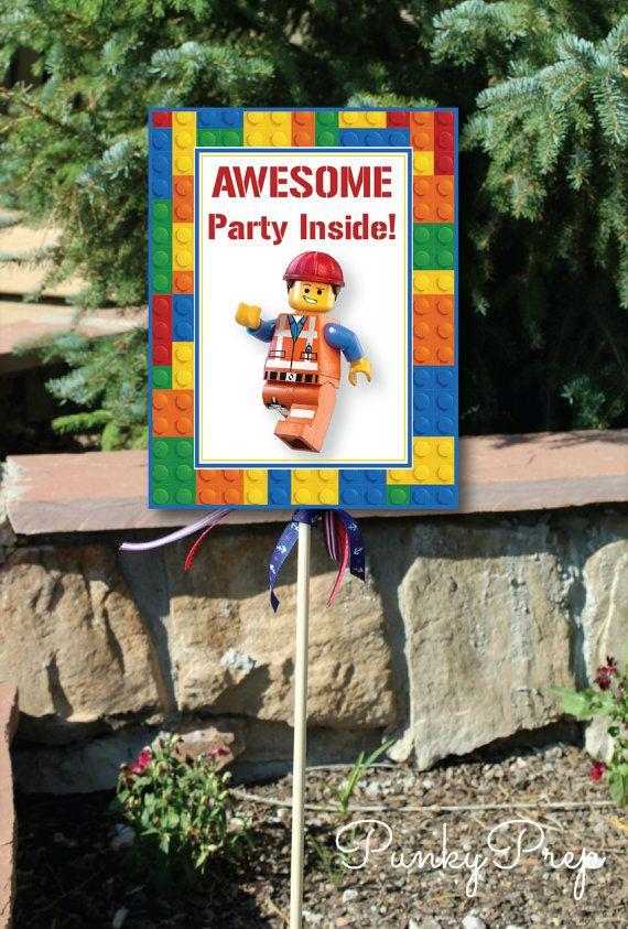 Lego Movie Birthday Party Yard Sign Small Yard Sign by Punkyprep, $2.95