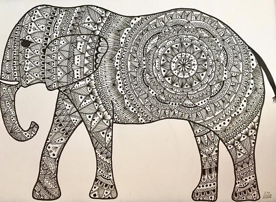 Mandala Elephant Print - - A3 size 42cm W x 29.7cm L 16.5 x 11.7 inches - - **FRAME NOT INCLUDED** - - This is a print, copied from my original drawing onto 200gsm A3 card. It is shipped in a mailing tube.