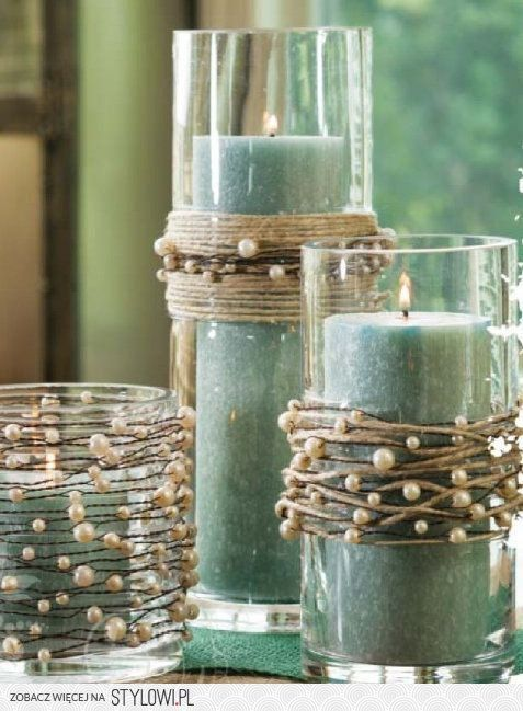 Pearls & TwineDecor, Ideas, String Pearls, Candle Holders, Candles Holders, Mason Jars, Diy, Crafts, Rustic Wedding