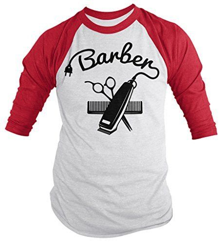 Shirts By Sarah Men's Barber Shirts Hair Clippers 3/4 Sleeve Raglan Shirt