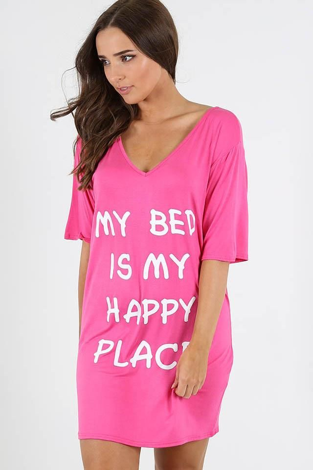 2836b50634 Harriet Slogan Night Dress £13.00 featuring a My bed is my favorite place  slogan print. Perfect for any girls night in.  styles  styleblogger   styleblog ...