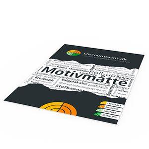 Motivmåtter produceres i formaterne fra 64x90 cm op til 120x500 cm. på filt med skridsikker gummi bagside, kan suge op til 7 liter vand pr. kvm og er certificeret brandhæmmede