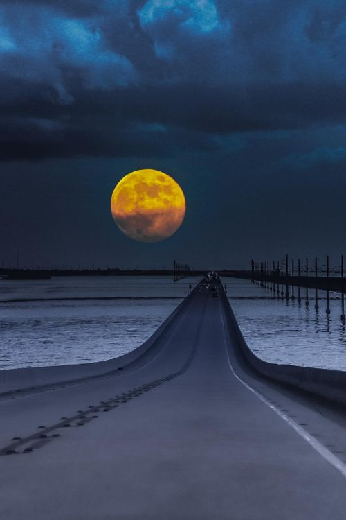 Moon at Keywest Road Trip by Naveen Gunda