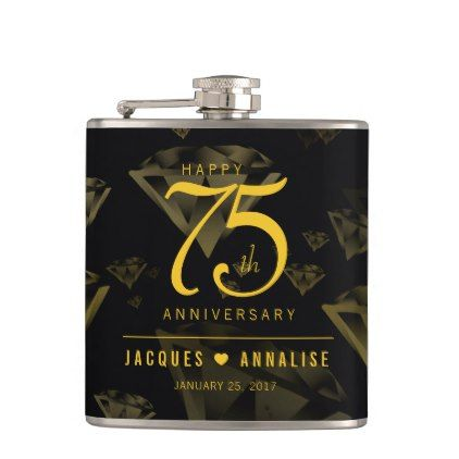 Elegant 75th Diamond and Gold Wedding Anniversary Hip Flask - gold wedding gifts customize marriage diy unique golden