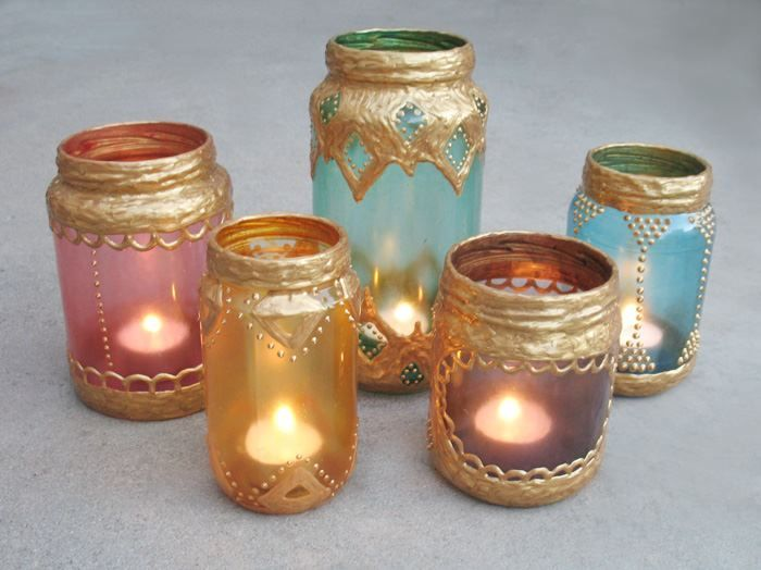 DIY Moroccan Candle Holders --- Simply Collect Glass Jars & Decorate with Gold Paint for CHEAP & CHIC Moroccan Decor!