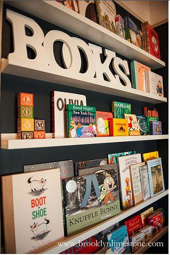 playroom bookcase - using Ikea Ribba picture ledge $9-$14