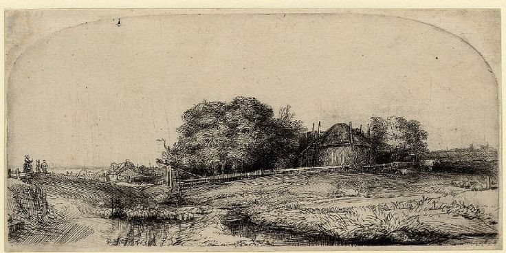Rembrandt, Landscape with a hayrick and a flock of sheep, 1652. London, British Museum