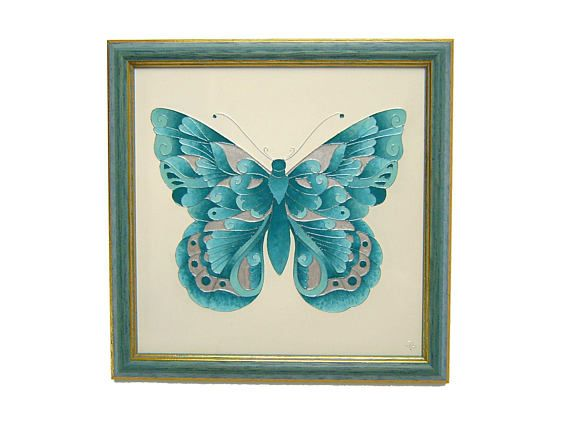 Turquoise Butterfly Mural with Turquoise Color Antic Frame