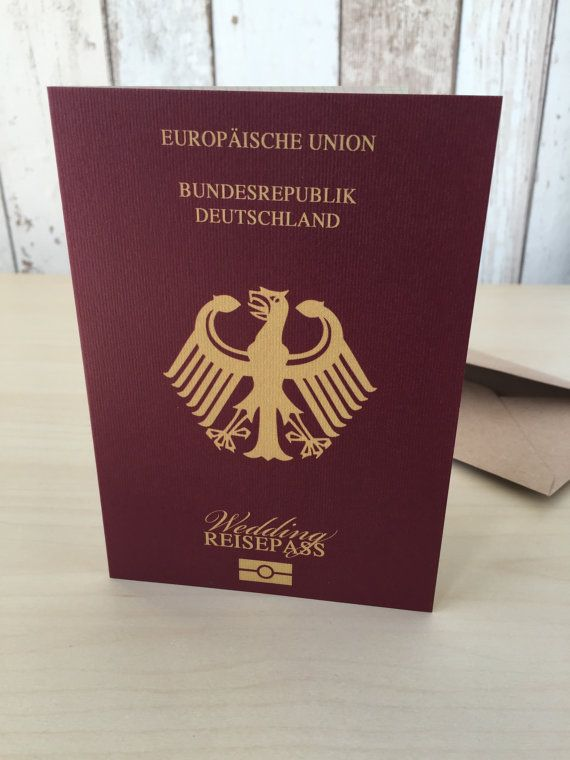 Personalised Passport Wedding Invitations German Germany | Destination Abroad Travel Beach