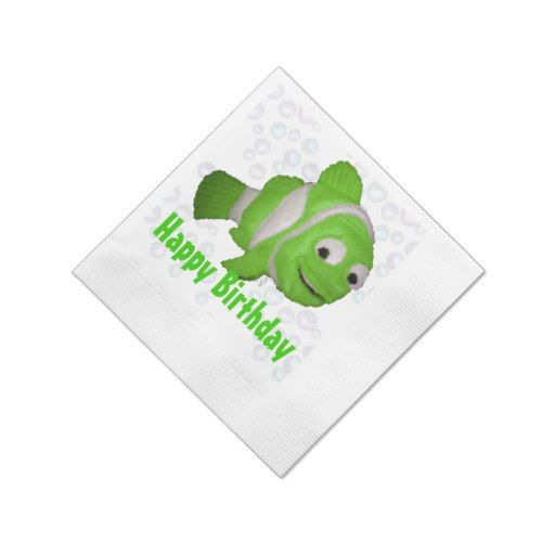Happy Birthday Fish (green) Paper Napkin