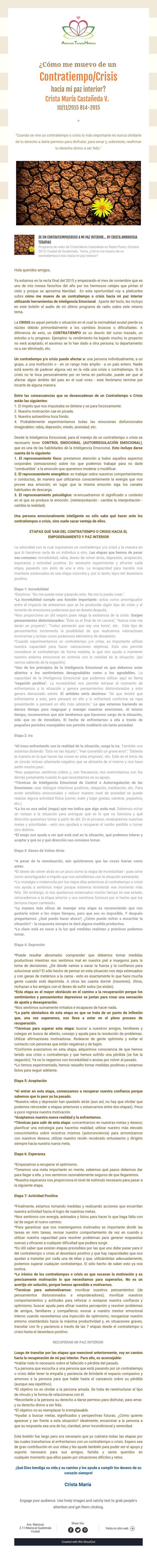 ¿Cómo me muevo de un  Contratiempo/Crisis  hacia mi paz interior?  Crista María Castañeda V.   10/11/2015 B14-2015