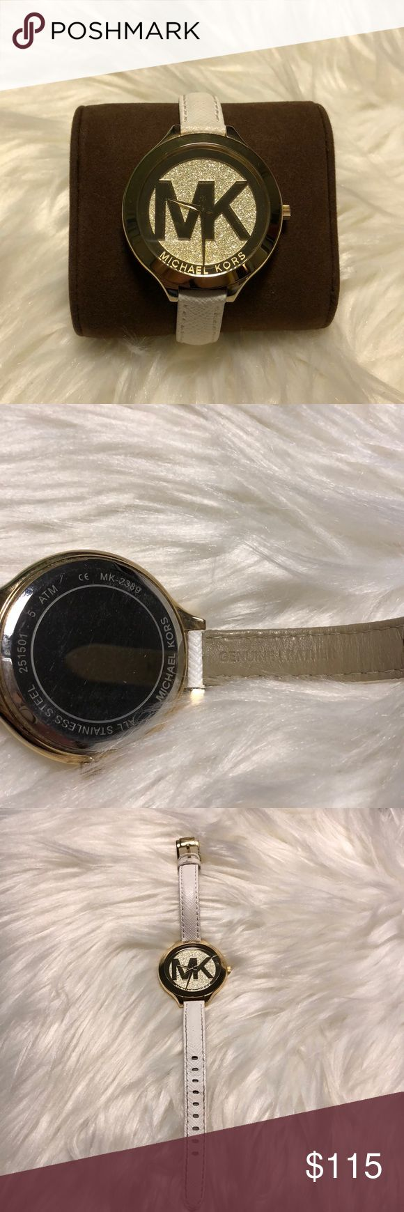 Michael Kors Dial Leather Strap Watch MK2389 Michael Kors Runway Champagne Dial White Leather Strap Women's Watch MK2389 - with a 42 Millimeters Yellow Gold Tone Stainless Steel case. Water resistant. Like new, only worn a handful of times! MICHAEL Michael Kors Accessories Watches