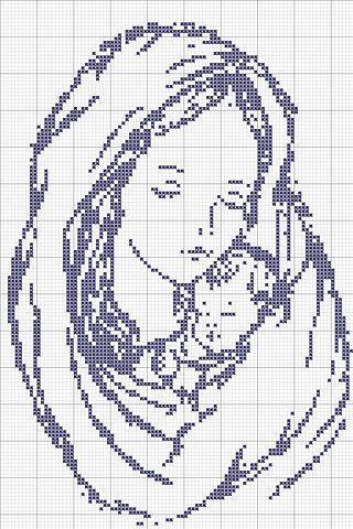 вышивки крестом монохром мать и ребенок - Pesquisa Google