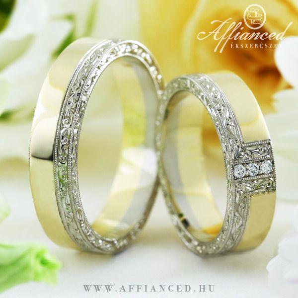 Barocco Simple karikagyűrűk - Sárga és fehér arany jegygyűrűk gyémántokkal dekorálva. http://www.affianced.hu/