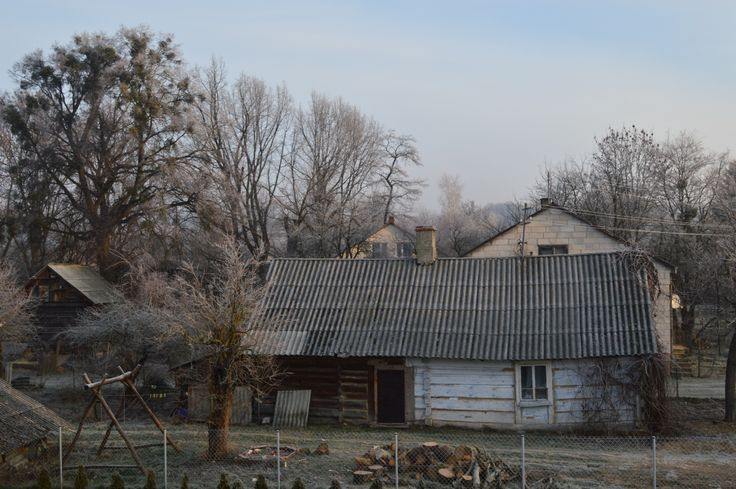 Nice 19th century log cabin in the frost near zamosc