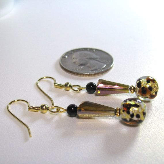Gold & amber animal print earrings jewelry by AndesBeads on Etsy