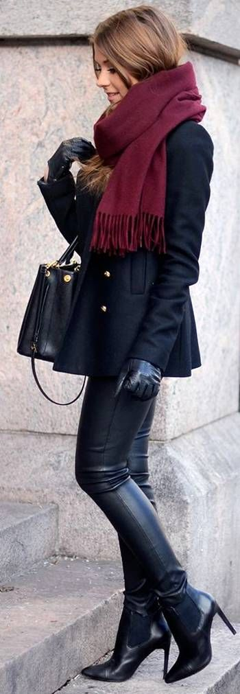 Burgundy Scarf On Black Outfit