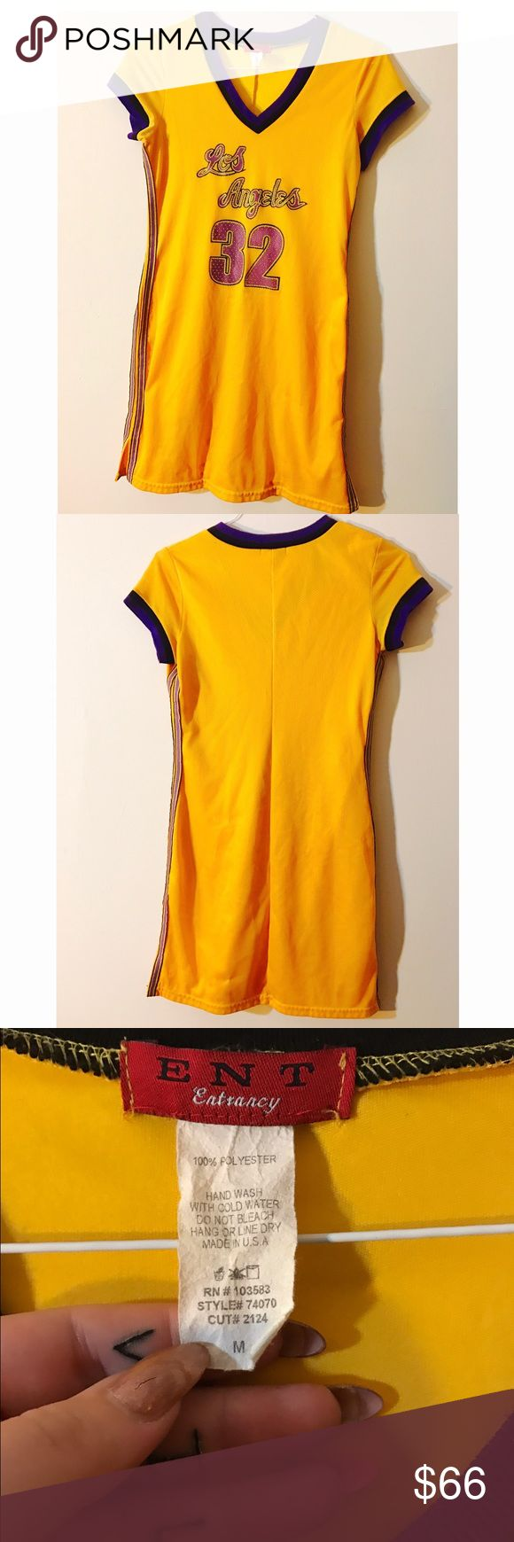 "Vintage 90s Yellow Jersey Dress Amazing, perfect, super awesome yellow 90s netted mesh jersey dress with stripes down the side. Says ""Los Angeles 32"" with purple elastic and v next. Rare and hard to find!! Lakers LA basketball jersey dress trendsetter Lebron Vintage Dresses"