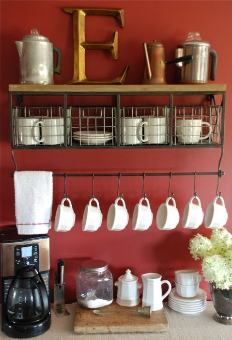 A cute idea for ANY coffee lover- a coffee bar right in your home! Our kitchen has a cafe theme and I think this would be a perfect addition for the bfast nook area.  Would just use a different color on the walls to match our decor. In home coffee bar