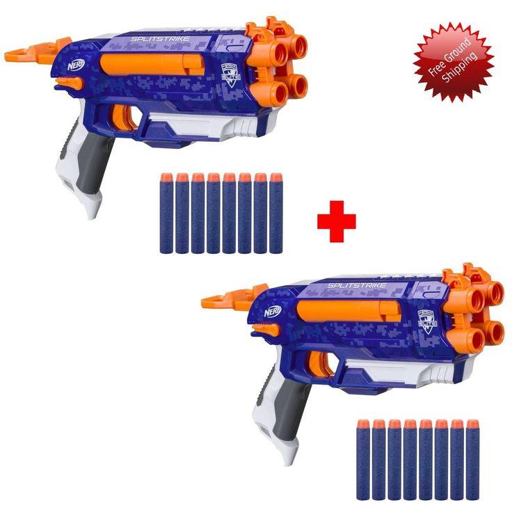 Nerf Soft Dart Gun Toy Set of 2 NStrike Elite Split Strike Dual Blaster 16 Darts #NerfElite