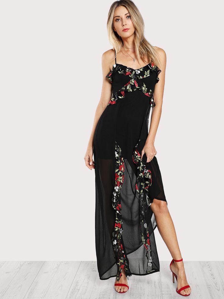 Maxi Kleid mit Blumen Stickereien und Falten - German ...