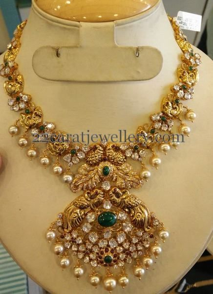 Nakshi Necklace Dual Peacock Pendant - Jewellery Designs