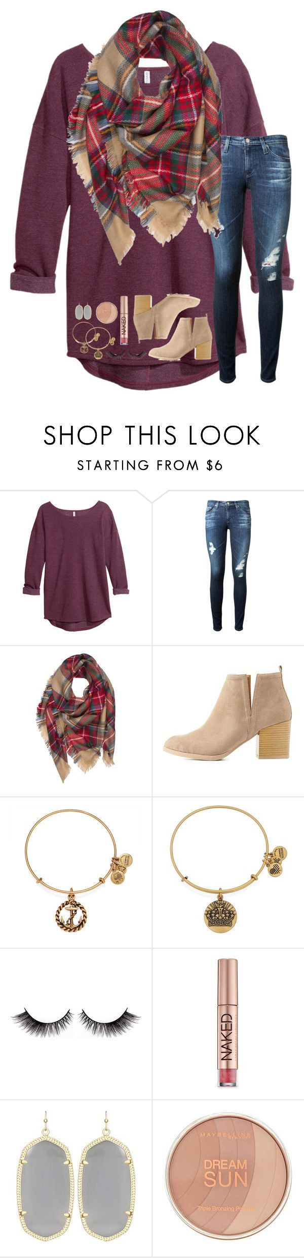 """""""I feel so much better//rtd!!"""" by lindsaygreys ❤️ liked on Polyvore featuring H&M, AG Adriano Goldschmied, Charlotte Russe, Alex and Ani, Urban Decay, Kendra Scott and Maybelline"""