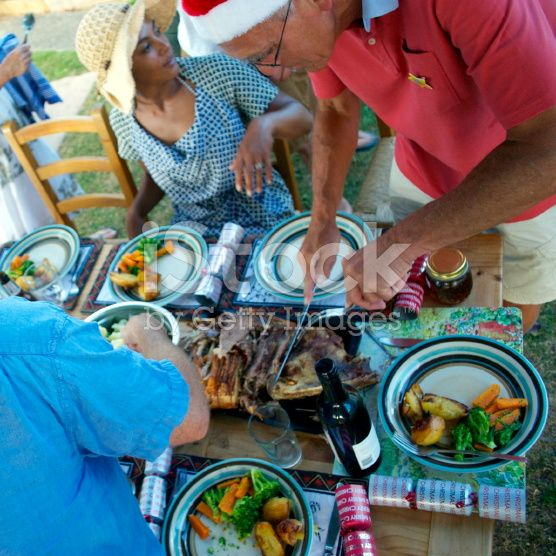 Summer Christmas Dinner, New Zealand royalty-free stock photo