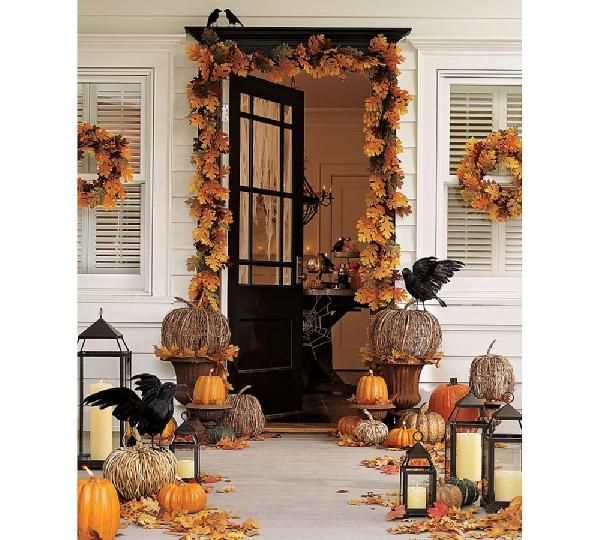 porchDecor Ideas, Halloween Decor, Fall Decor, The Crows, Falldecor, Front Doors, Fall Porches, Pottery Barns, Front Porches