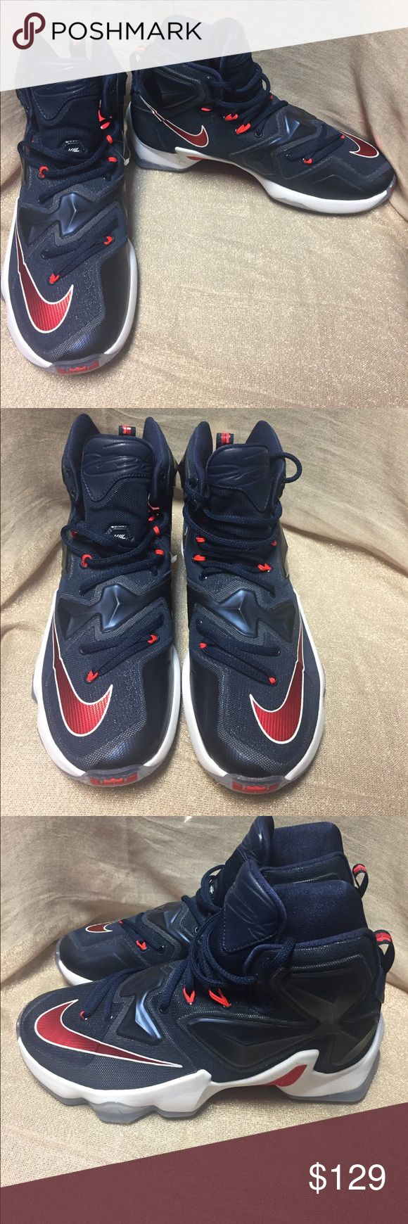 """NEW! Men's Lebron James 13 Basketball Sneakers 2016 Nike Lebron 13 Mens Basketball Shoes""""USA Independence Day""""Midnight Navy/Varsity Red-White Sneakers 807219-461 **Inventory number on sole** Fresh pair of Lebron James Basketball Sneakers! Great condition! Never worn. NEW! Makes a great gift ! Men and boys favorite ! Make an offer! Make it yours! No box no flaws Lebron James Shoes Athletic Shoes"""