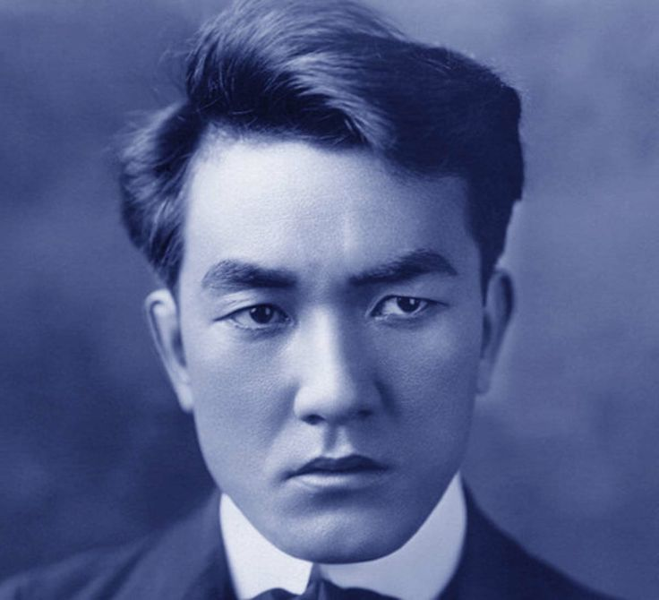 "Sessue Hayakawa 早川 雪洲 (1889 – 1973) was a Japanese actor who starred in American silent films.   ""His 'broodingly handsome' good looks and typecasting as a sinister villain with sexual dominance made him a heartthrob among American women, and the first male sex symbol of Hollywood, several years in advance of Rudolph Valentino.  During those early years, Hayakawa was as well known and as popular as Charlie Chaplin and Douglas Fairbanks, although today his name is sadly unknown to the…"
