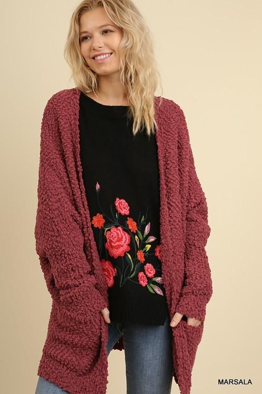 Burgundy Plush Popcorn Cardigan Sweater By Umgee Boutique Style